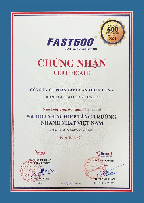 thien long honoured in fast500 for eighth time